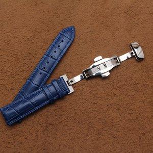 جلد البقر والجلود watchbands ساعة حزام الفضة المقاوم للصدأ مشبك معدني نشر فراشة watchbands الأزرق للرجال 14 16 18 ملليمتر 20 ملليمتر 22 ملليمتر