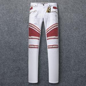 Sıcak Satış Fermuar Kot Ince Streç Mens Paris Klasik Biker Jeans Denim Pantolon Wings Amerikan Bayrağı Artı Boyutu 30-42