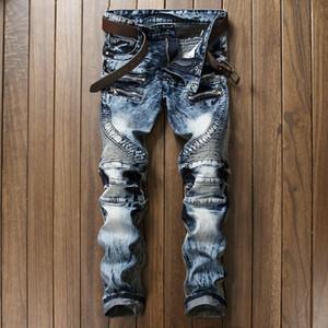 Moda Streetwear Calças De Brim Dos Homens de Alta Qualidade Em Linha Reta Slim Fit Lavagem De Neve Stripe Jeans Man Marca de Roupas Night Club Motociclista Jeans homens
