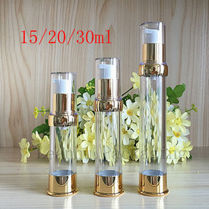 Botella de loción cosmética de viaje de crema vacía de airless de viaje de oro vacía con dispensador sin aire botella de aluminio transparente precio de fábrica