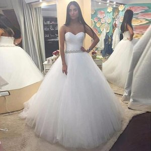 New Custom Made Cheap Ruched Wedding Dresses Sweetheart Pleated Tulle Ball Gowns Beaded Sash Bridal Dresses Plus Size Lace up