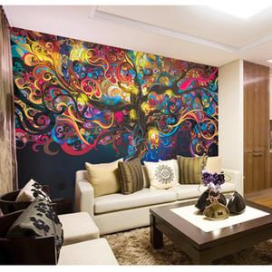 Stereo ve büyük süsleme resim Karakter soyut duvar kağıdı hayat ağacı Dikişsiz dokunmamış ipek duvar kağıdı duvar resimleri