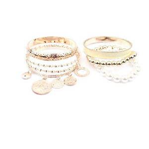 New Fashion Jewelry Gold Metal Pearl Charm Bangle Multilayer Pendant Bracelet Charm Bracelets Pearl Multilayer bracelets Pierced wristbands
