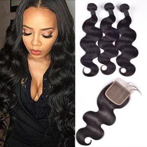 ELIBESS Virgin Brazilian Human Hair 10inch-28inch Body Wave 3 Bundles With 4*4 Closure,Wholesale Best Virgin Human Hair Bundles with closure