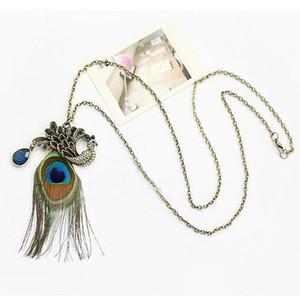 Boa qualidade moda popular penas de pavão pingentes colares boemia mulheres vintage camisola cadeia colar choker jóias