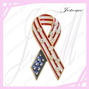 100PCS Lot 2017 Newest design China Wholesale patriotic Jewelry American Flag Breast Cancer Awareness Brooch Pin