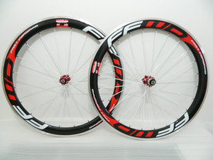 Alloy Brake Surface FFWD Carbon wheel 50mm Clincher Road Bike Wheelsets Carbon Aluminum Wheels Red powerwary R13 hub red nipples white spoke