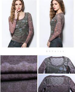 Slim war dünnes T-Shirt weiblich 2017 Frühjahr und Sommer abstrakten Druck Rundhals Langarm Netto-Garn Bottom Coat