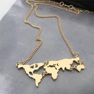 Monili di modo Innovative World Map Uomini collane pendenti in oro placcato collana corta gioielli per gli uomini