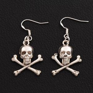 Pirate Skull Earrings Crochet d'oreille de poisson en argent 925 30pairs / lot Antique Silver Lustre E981 41.4x19.6mm
