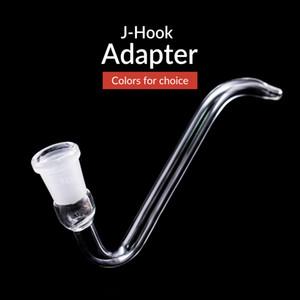 Glas J-Haken-Adapter 14 / 18mm Joint für Kawumm Wasser Bongs Aschfänger Schüssel mit FREE SHIPING