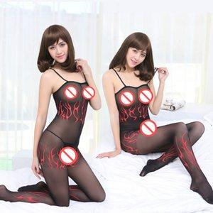 Спагетти ремень нейлон измельченные Сексуальная печатных пламя печати сексуальные зрелые непрозрачные панели Bodystocking боди пижамы пижамы свободный размер