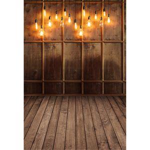 Brown Fotografía antigua pared de madera fondos de vinilo bulbos chispeantes niños niños Indoor Estudio sesión fotográfica del fondo de madera del piso