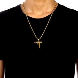 2017 hot new gravado hip hop para arma forma uzi pingente de ouro colar de boa qualidade corrente de ouro jóias da moda popular