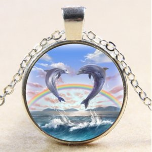10pcs dolphin necklace,Charm Gifts,Vintage Cabochon Glass necklace Silver Bronze Black pendant,Chain necklace,Fashion jewelry