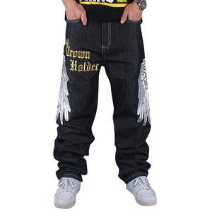 Seasons Hop Hip Style Skateboard Rap Big Jeans Street Jeans 4 Hiphop السراويل فضفاض الدينيم الرجال بالجملة-الرجال بنطلون فضفاض حجم 30-4 LDBBN
