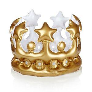 Atacado-novidade Inflável Crown King Imperial Chapéus Crianças Adultos Headwear Acessórios Birthday Party Decorations