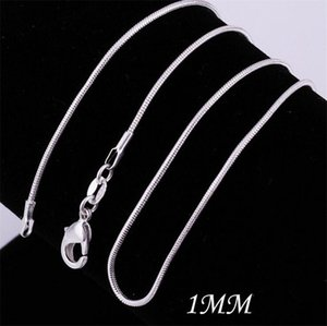 New 100 pcs 925 silvering Smooth Snake Chain Necklaces Lobster Clasps Chain Jewelry Size 1mm 16inch --- 24inch C092