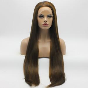Iwona Hair Straight parrucca bionda con lunga mora marrone mix 22 # 8/27 Mezza mano legata parrucche sintetiche resistenti al calore in pizzo