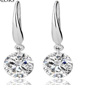 Orecchini placcati in argento sterling 925 Fine DHL Wedding Engagement Zircone Orecchini a lobo Princess Cut Creato gioielli con diamanti Regalo di Natale