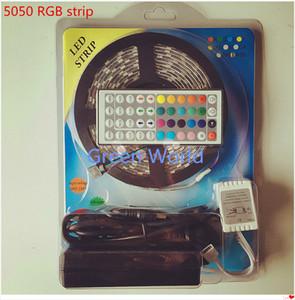5 متر IP65 led شريط مرن 300leds اللون تغيير rgb smd5050 الصمام ضوء قطاع كيت RGB 5M + 44KEY تحكم عن بعد + 12 فولت 5A امدادات الطاقة