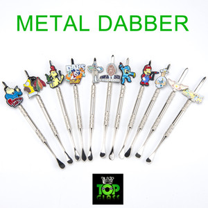 Tubo de metal Dabber Herramienta de bongs de vidrio Dabber de metal de dibujos animados, tubo de agua, plataformas de aceite de dab que fuman accesorios para arco de vidrio