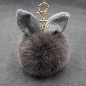 2017 Renkli Faux Fox Kürk Ponpon Anahtarlık Kabarık Tavşan Kulak Topu Anahtarlık Anahtarlık Çanta Charms Kolye Bunny Aksesuarları