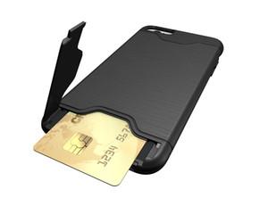 Hybrid Holder Armatura spazzolato Carta di Credito Pocket Case Cover Kickstand per l'iphone 11 PRO 11 PRO MAX 6 7 8 PLUS XR XS XS MAX 160PCS / LOT