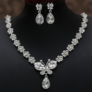 2020 Rhinestone Crystal Drop Necklace Sets Earring Plated Bridal Jewelry Set White Wedding Earrings Cheap Free Shipping Wedding Accessories