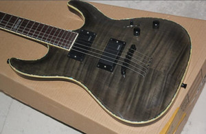 E S P Custom Shop Horizon NT II STBC Black Grey Flame Maple Top Electric Guitar Abalone & White MOP Body BindingString Thru Body EMGX Pickup