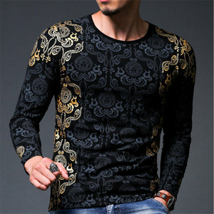 Top Fashion 3D Goldfolie T-Shirt Männer Frühling Tops Marke Männer Druck Langarm Dünnes T-shirt Männer Hemd Kleidung Elastische Tees