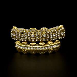Marque Design Or Dents Grillz Pour Hommes Top Qualité Pleine Diamant Hiphop Bijoux De Mode Hip-hop Accessoires En Gros