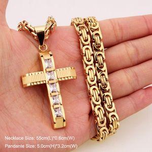 316L нержавеющей стали мода ювелирные византийский Box Link цепи ожерелье крест подвески для мужчин женщин хип-хоп аксессуары
