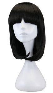 Kadın Kızlar Için Kısa Düz Peruk Parti Kostüm Natrual Siyah Açık Kahverengi Koyu Kahverengi 45 Cm Sentetik Saç Peruk