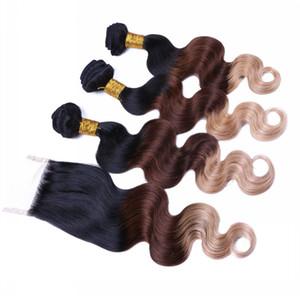1B / / 27 4 Üst Kapatma Vücut Dalga 3Tone Ombre 3Bundles ile Bal Sarışın Ombre Virgin Brezilyalı İnsan saç örgüleri ile 4x4 Dantel Kapanış