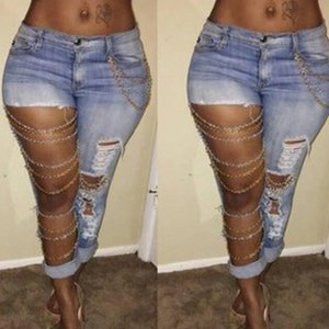 Wholesale- Fashion Women Ripped Jeans Pants Cool Denim Big Hole&Chains Vintage Pencil Pants Mid Waist Trousers -MX8