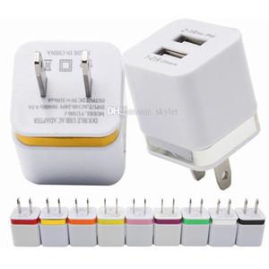 Per caricabatteria da muro per iPhone Adattatore per ricarica cellulare doppio USB 5V 2.1A Caricatore universale per telefoni cellulari senza imballaggio
