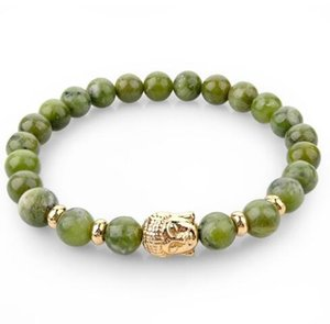Chicvie Natural Stone Bead Buddha Bracelets para mujeres hombres Silver Black Lava Love Jewelry con piedras Femme Christmas Gift