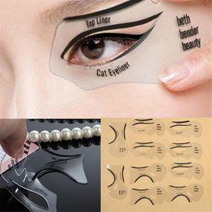 Free Shipping 10pcs set Beauty Cat Eyeliner Models Smokey Eye Stencil Template Shaper Eyeliner Makeup Tool In Stock WX-B15