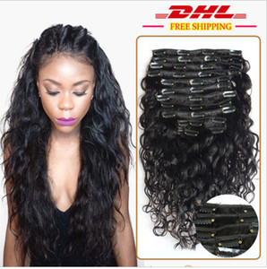 8A 1B# natural black Clip In Human Hair Extesnison 100g 7pcs 16-26'' Virgin Brazilian indian deep wave Clip In Hair Extensions dhl free