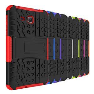 إلى Samsung Galaxy Tab E T560 A 10.1 T580 9.7 T550 Tab S2 T810 S3 9.7 Dazzle Hybrid KickStand Impact Rugged Heavy Duty TPU + PC كفر حافظة