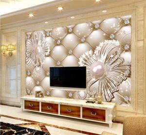Carta da parati Adesivo murale 3D Borsa morbida Gioielli con diamanti Fiore Sfondo di lusso Muro papel de parede