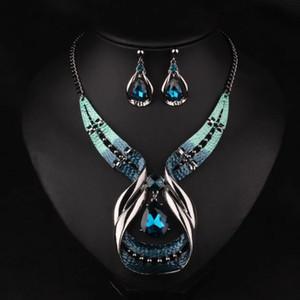 Ensemble de bijoux vintage Déclaration de bijoux Bohème Big Gem Stone Colliers boucles d'oreilles Ensembles de bijoux de luxe de pierres précieuses