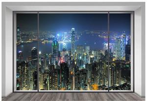 3D фото обои на заказ 3D настенные фрески обои высотное здание с прекрасным видом на 3d окна телевизор обои гостиная украшения
