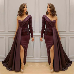 Sexy One Shoulder Long Sleeve Dresses Evening Wear With Overskirt Lace Applique Side Split Mermaid Prom Dress New Arrival Celebrity Dresses