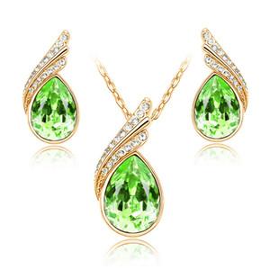 Nova Chegada Austríaca Jóias De Cristal Conjunto Com Rhinestone Golden Colar e Brincos Moda Mulheres Crystal Jewelry Set