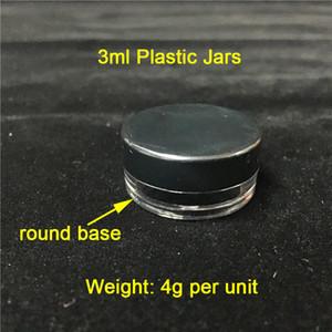 Pas cher 3ml / 3G Couvercles Noir Contenants en plastique Smoke Bocaux de cire en plastique en gros Vente Livraison gratuite au monde