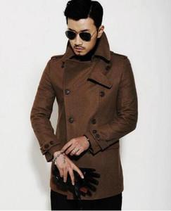 Черный коричневый повседневная с длинным рукавом шерсть пальто мужчины 2017 куртки и пальто Мужские мужские шерстяные пальто платье зима короткие тренч куртка