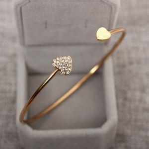 على شكل قلب كريستال القلب المفتوح سوار الذهب مطلي الإسورة مزدوجة القلب سوار بالجملة الشحن المجاني