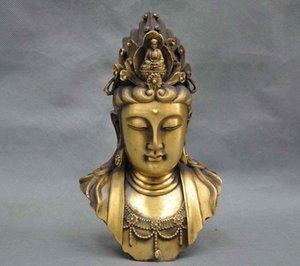 9 '' Çin Kwan-yin Buda Guanyin Boddhisattva Büstü Bronz Heykeli